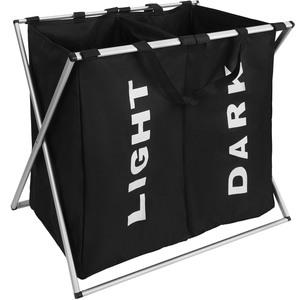 Wäschesammler klappbar mit 2 Fächern schwarz
