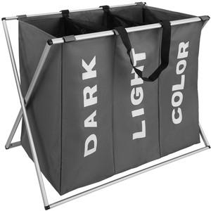 Wäschesammler klappbar mit 3 Fächern dunkelgrau