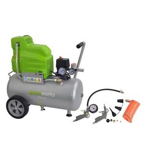 """Greenworks Kompressor Set 24l """"8 bar, 24 l, 120 l/min, 1,5 kW, ölfrei, inkl. 11-teiligem Zubehör,"""""""