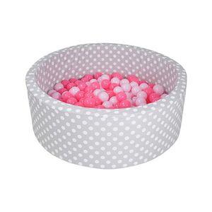 Knorrtoys     Bällebad soft - Grey white dots mit 300 Bällen grau/soft pink