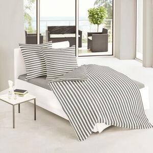 Bierbaum Satin-Bettwäsche Streifen, 135x200 cm, grau/weiß, cm
