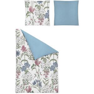 """Irisette Satin-Bettwäsche """"Eos"""", Blumen, 135x200 cm, weiß/blau, cm"""