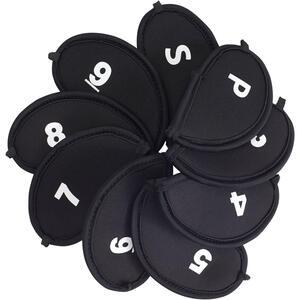 Golf Headcover Eisen 9 Stück schwarz