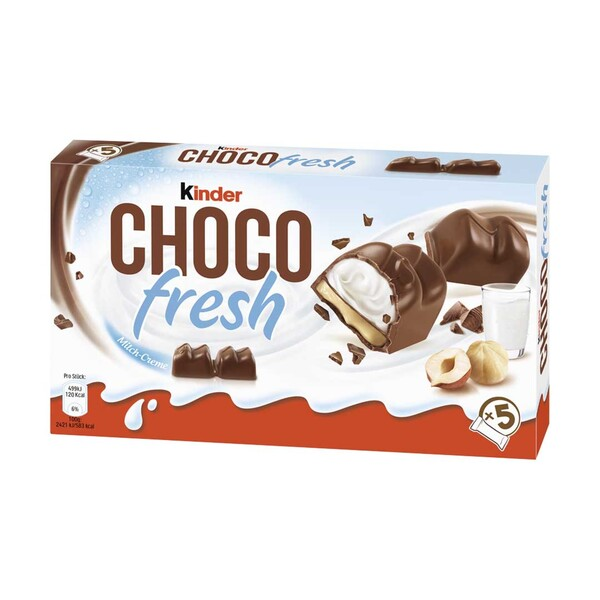 kinder Choco fresh jede 5 x 20,5 = 102,5 g oder Maxi King 3 + 1 x 35 g = 140 g, jede Packung