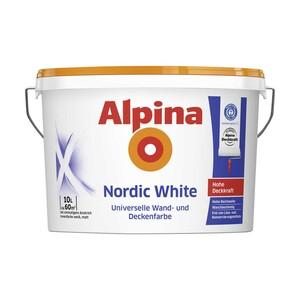 Alpina Nordic White 10 Liter, umweltschonend da emmissionsarm, Deckvermögen Klasse 2 und Nassabriebbeständigkeit Klasse 3 nach DIN EN 13 300, Reichweite: ca. 50 - 60 m²