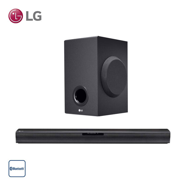 2.1-Bluetooth®-TV-Soundbar SJ2 mit Funk-Subwoofer • 160 Watt RMS • USB-/Portable-In-/optischer Anschluss • inkl. Fernbedienung • Maße Soundbar: H 5,6 x B 66 x T 9,9 cm • Maße Subwoofer: