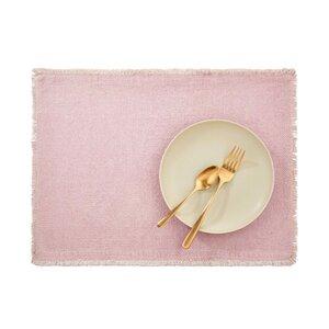 Platzset mit Fransen 33x48cm rosa