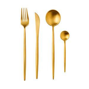 Besteck 4er-Set matt gold