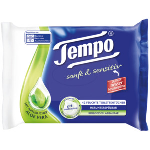 Tempo Feuchte Toilettentücher sanft & sensitiv, parfümfrei 42 Stück