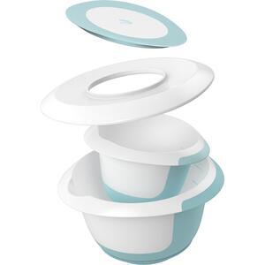 keeeper 4-tlg. Rührschüssel-Set Marla 15 l 35 l mit Saugnapf Spritzschutz DeckelTeigschaber pastellblau