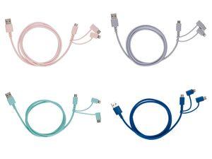 SILVERCREST® Lade- und Datenkabel, für Lightning, Micro-USB, USB-Typ-C, Textilummantelung