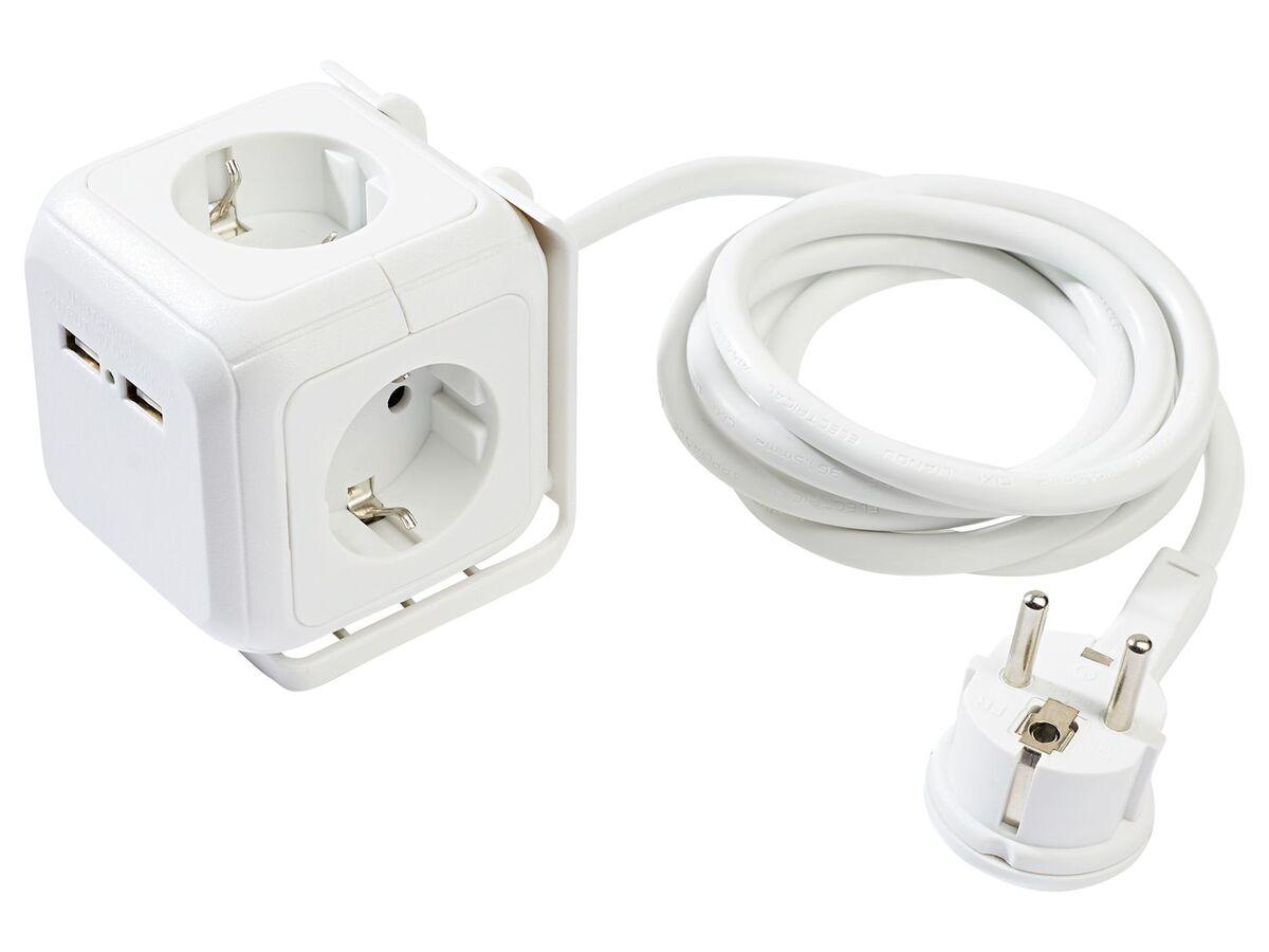 Bild 1 von SILVERCREST® Steckdosenwürfel, mit 2 USB-Ports und 4 Steckdosen, 1,5 m Kabellänge