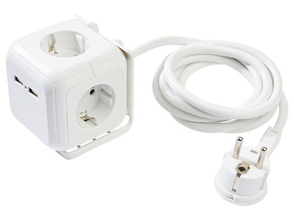 SILVERCREST® Steckdosenwürfel, mit 2 USB-Ports und 4 Steckdosen, 1,5 m Kabellänge