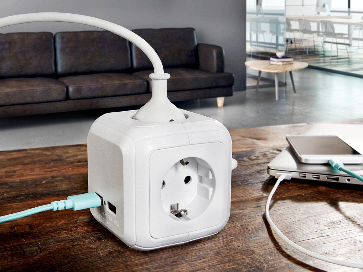 Bild 2 von SILVERCREST® Steckdosenwürfel, mit 2 USB-Ports und 4 Steckdosen, 1,5 m Kabellänge