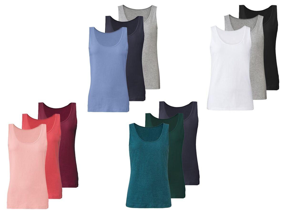 Bild 1 von ESMARA® Lingerie Achselhemd Damen, 3 Stück, mit Baumwolle und Elasthan