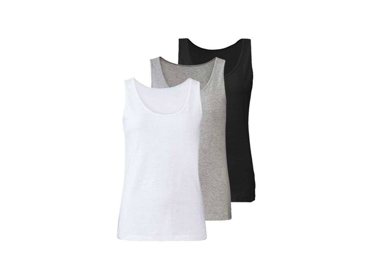 Bild 2 von ESMARA® Lingerie Achselhemd Damen, 3 Stück, mit Baumwolle und Elasthan