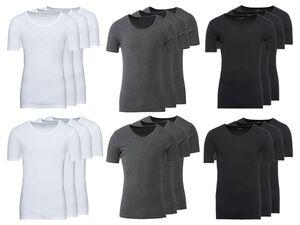 LIVERGY® Unterhemd Herren, 3 Stück, Feinripp, aus reiner Baumwolle
