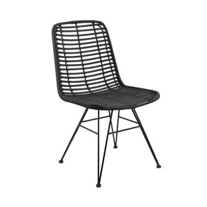 Rattan-Stuhl schwarz