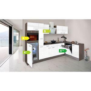 Respekta Küchenprogramm Eiche York Winkelküche 310 cm inkl. E-Geräte & Mineralite Einbauspüle, weiß