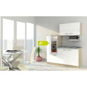 Respekta Economy Küchenzeile KB160ESWMI 160 cm, Weiß mit Mikrowelle