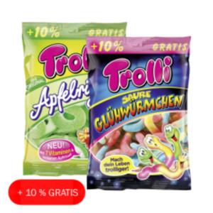 Trolli Fruchtgummi Apfelringe, Pfirsichringe oder saure Glühwürmchen