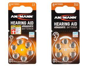 ANSMANN Knopfzellen für Hörgeräte, PR 48: 13 oder PR 41: 312, 10 x 6 Stück