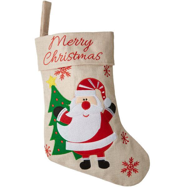Nikolausstiefel in Jute-Optik mit Weihnachtsmann-Motiv