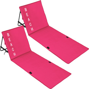 2 Strandmatten mit verstellbaren Lehnen pink