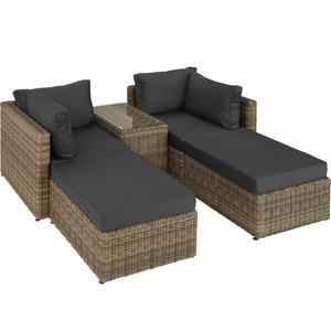 Rattan Lounge mit Aluminiumgestell San Domino natur