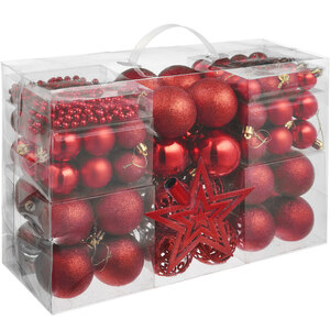 86er Set Christbaumkugeln rot