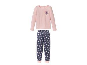 PEPPERTS® Mädchen Pyjama, mit Puff-Print, Shirt aus Baumwolle, Hose in Fleece-Qualität