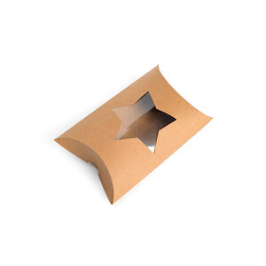 Kraftpapiergeschenkbox mit transparentem Stern, FSC® Mix, natur
