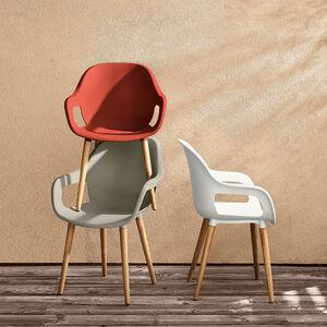 Schalenstuhl mit Holzbeinen, FSC® 100%, B:58cm x H:83cm, rot