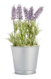 Blumentopf aus Blech mit künstlichem Lavendel
