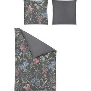 Irisette Satin Bettwäsche, Blumen, 135x200 cm, grau, cm