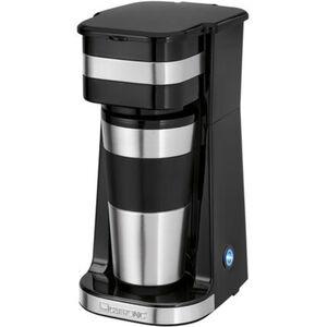 Clatronic Kaffeeautomat KA 3733, 1 Tasse, Thermobecher, silber/schwarz