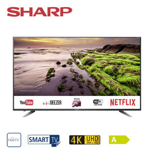 LC-60UI7652E • 3 x HDMI, 2 x USB, CI+, SD-Kartenslot • geeignet für Kabel-, Sat- und DVB-T2-Empfang • Maße: H 78,3 x B 135,8 x T 8,7 cm • Energie-Effizienz A (Spektrum A++ bis E), Bildschir