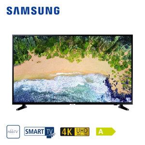"""UE50NU7090 • 2 x HDMI, USB, CI+ • geeignet für Kabel-, Sat- und DVB-T2-Empfang • Maße: H 65 x B 112,5 x T 6 cm • Energie-Effizienz A (Spektrum A++ bis E), Bildschirmdiagonale: 50""""/125 cm"""