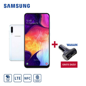 Smartphone Galaxy A50 A505F · Triple-Rückkamera (25 MP/5 MP/8 MP) mit Ultra-Weitwinkel und Bokeh-Effekt · Frontkamera (25 MP) mit Weitwinkel · 4-GB-RAM, bis zu 128 GB interner Speicher · Gesicht