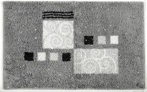 Sensino Polyacryl Badteppich mit Glitzerfaser - Ornamente Grau