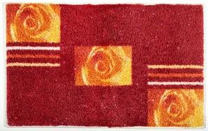 Sensino Polyacryl Badteppich mit Glitzerfaser - Rosen Rot-Orange