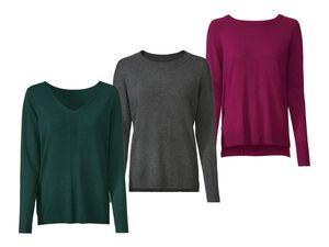 ESMARA®  Pullover Damen, Rundhals- oder V-Ausschnitt, mit Viskose