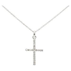 Smart Jewel Kette Kreuz mit Zirkonia Steinen, Silber