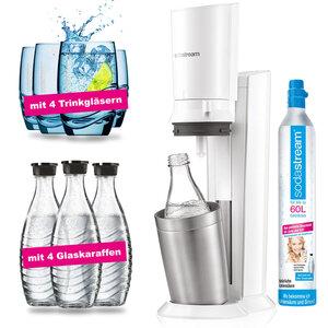 SodaStream Crystal 2.0 white Wassersprudler incl. 4 Glaskaraffen & 4 Design Trinkgläser
