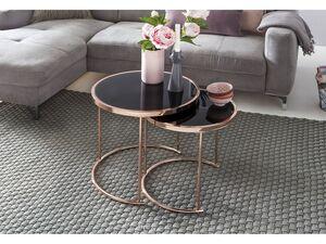 Wohnling Beistelltische, 2er Set, Tischplatte aus Sicherheitsglas, rundes Metallgestell