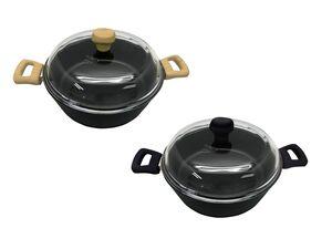 ERNESTO® Aluguss Servierpfanne, 28 cm Durchmesser, mit Glasdeckel