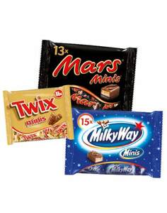 Mars, Snickers, Milky Way, Twix, Bounty Minis
