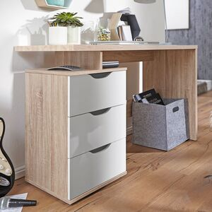 WOHNLING Schreibtisch Design Bürotisch mit Schublade Sonoma/Weiß Tisch Computertisch mit Fächer Abla