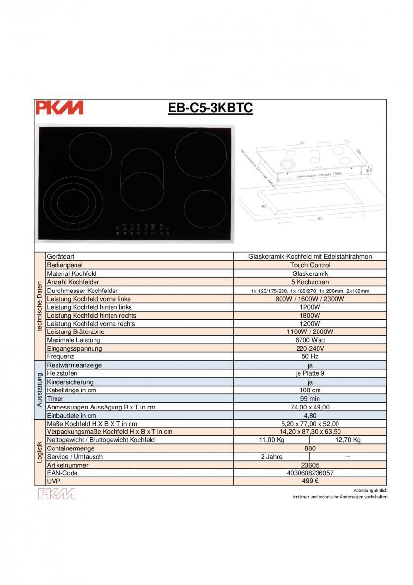 Bild 5 von PKM Glaskeramik Kochfeld EB-C5-3KBTC
