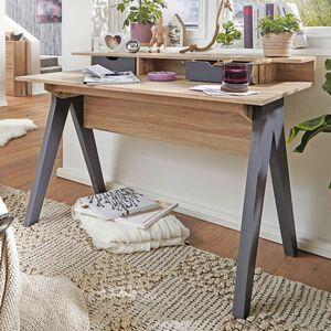WOHNLING Schreibtisch 120 cm Design Bürotisch Sonoma Eiche/Grau modern Computertisch 2 Schubladen &